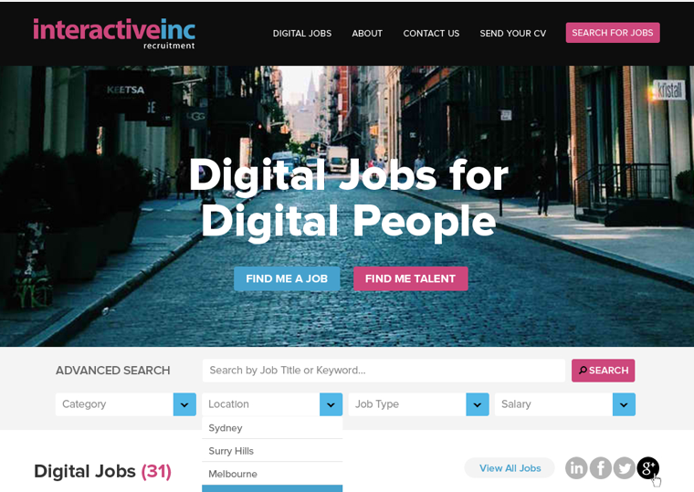 interactiveinc - designer recruitment agency website